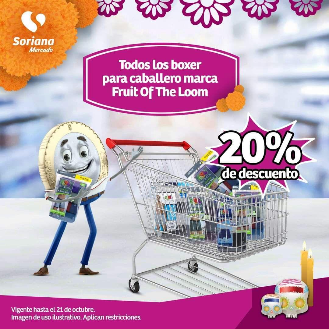 Soriana Mercado: 20% de descuento en todos los boxers para caballero Fruit of the Loom