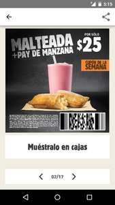 Burger King: malteada y pay por 25 pesitos