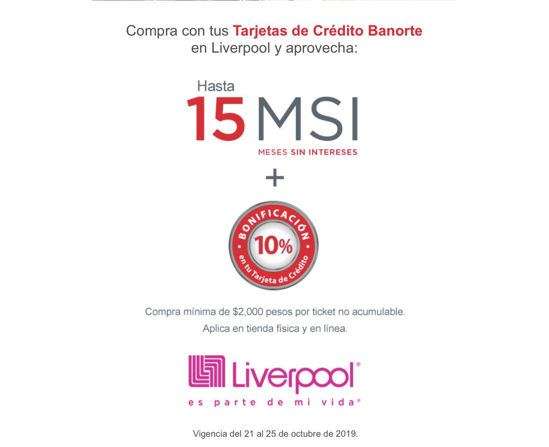 Liverpool: 10% reembolso + 15 meses con Banorte