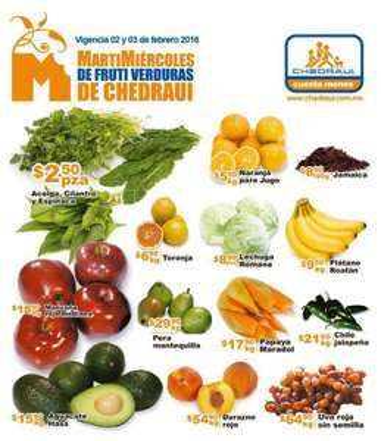 Martimiercoles de frutas y verduras Chedraui 2 y 3 de febrero