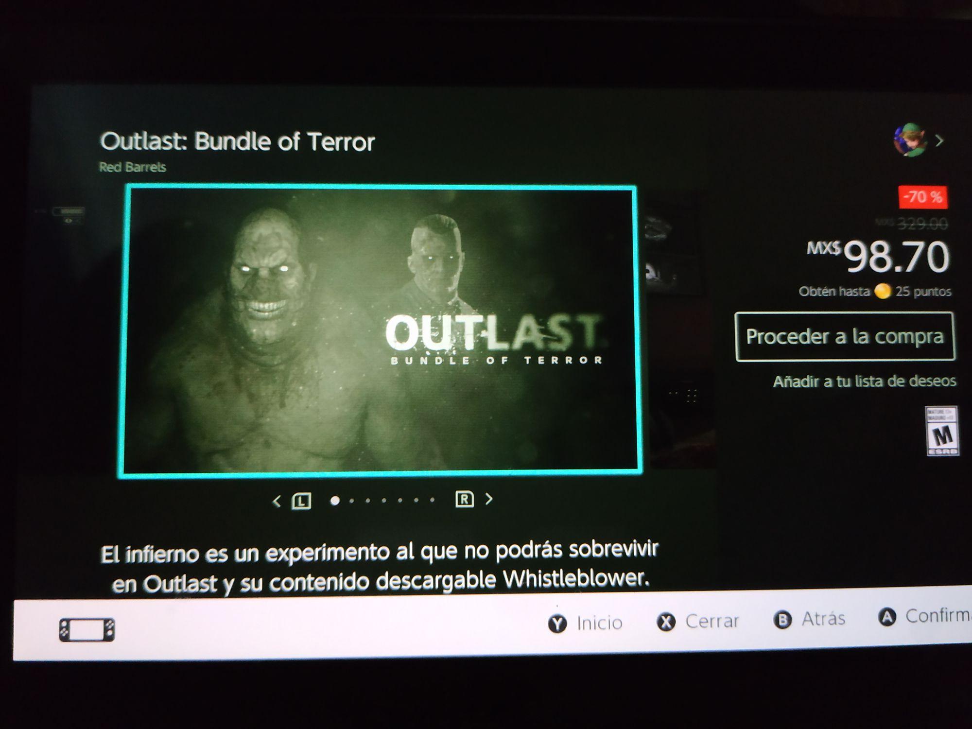 Nintendo Switch Eshop: Outlast $98.70 y Outlast 2 $119.70