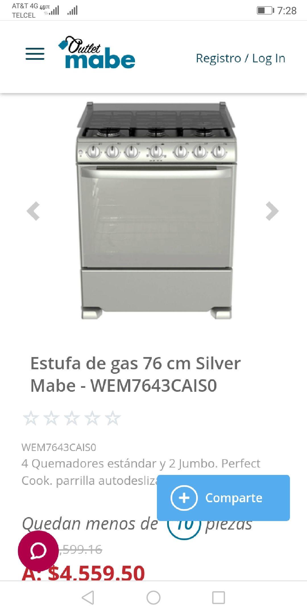 Outlet Mabe : estufa gas 76 cm Silver 6 quemadores WEM7643CAIS0