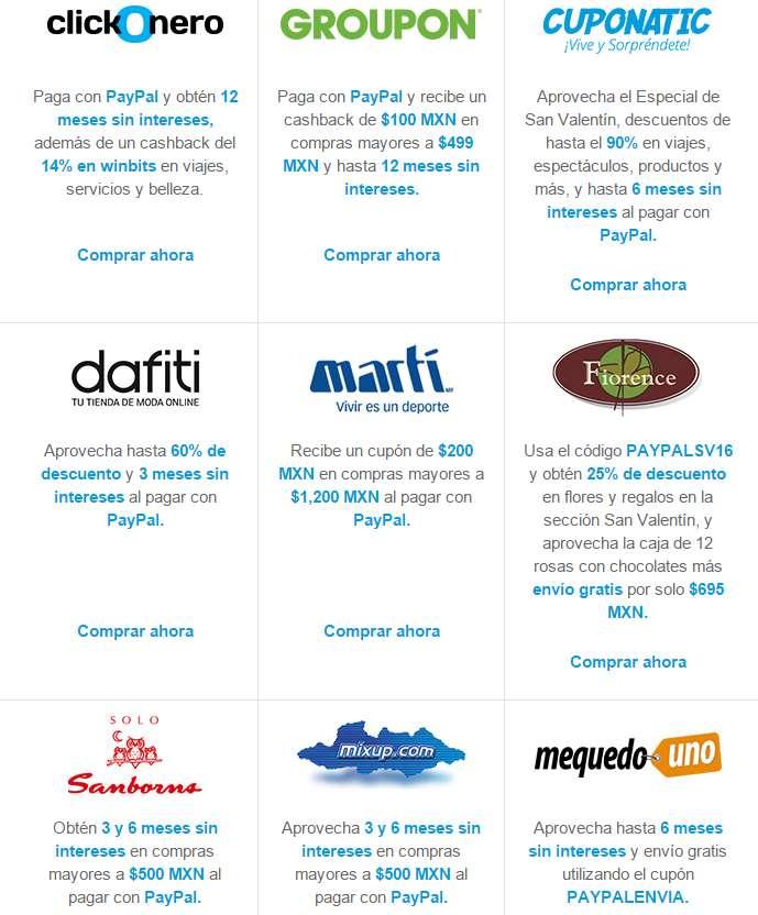 Promociones con PayPal en Groupon, Martí, clickOnero y más