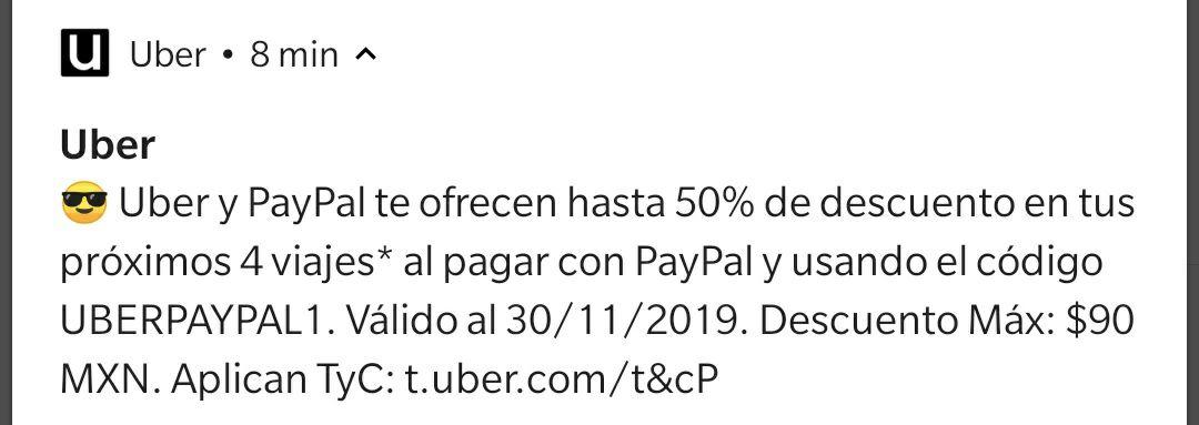 Uber 50% próximos 4 viajes pagando con PayPal utilizando cupón ( SOLO NIVEL ORO)