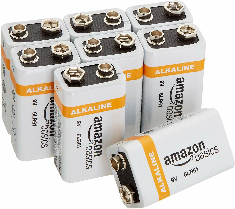 Amazon:AmazonBasics Paquete de 8 baterías alcalinas de 9 voltios para uso diario