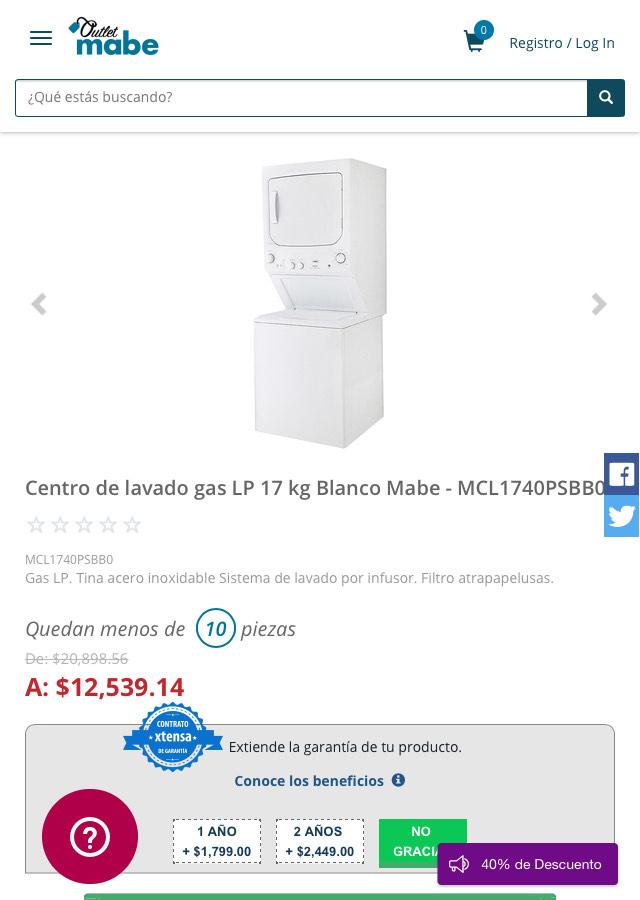 Outlet Mabe - centro de lavado gas LP 17kg
