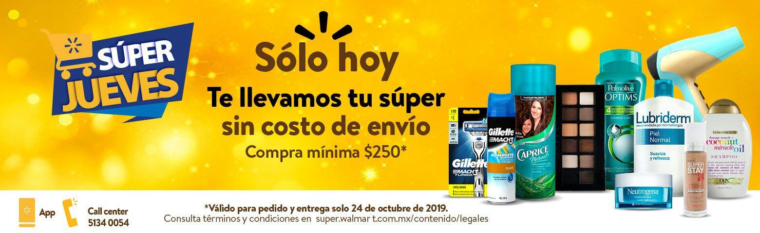 Walmart: Súper Jueves 24 Octubre: Gratis costo de envío en pedidos de súper (compra mínima: $250)