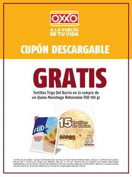 Oxxo: tortillas gratis en compra queso d 190grs