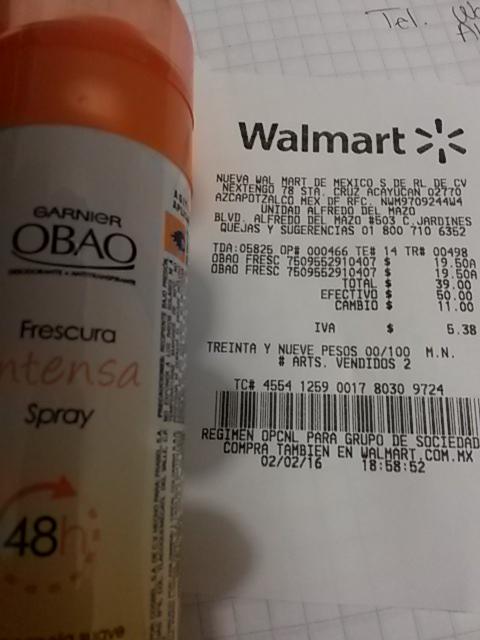 Walmart Alfredo del Mazo: Desodorante obao spray $19.50