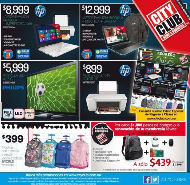 Folleto de ofertas en City Club Agosto 2014 (incluye 2x1 en tarjetas Skype)