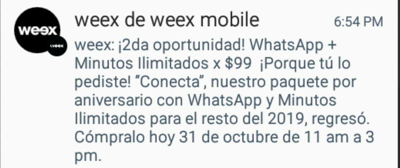 Weex: WhatsApp y Minutos Ilimitados por el resto del año