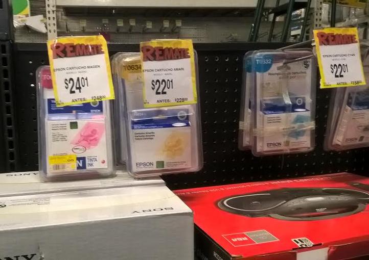 Bodega Aurrerá: Cartuchos Epson Todos Colores rebajados de $248 a $24