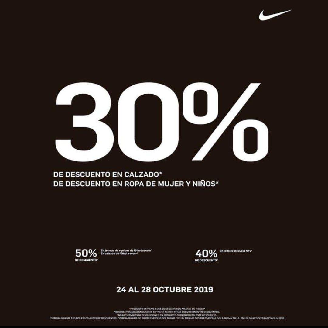 30, 40 y 50% de descuento Nike Factory Store