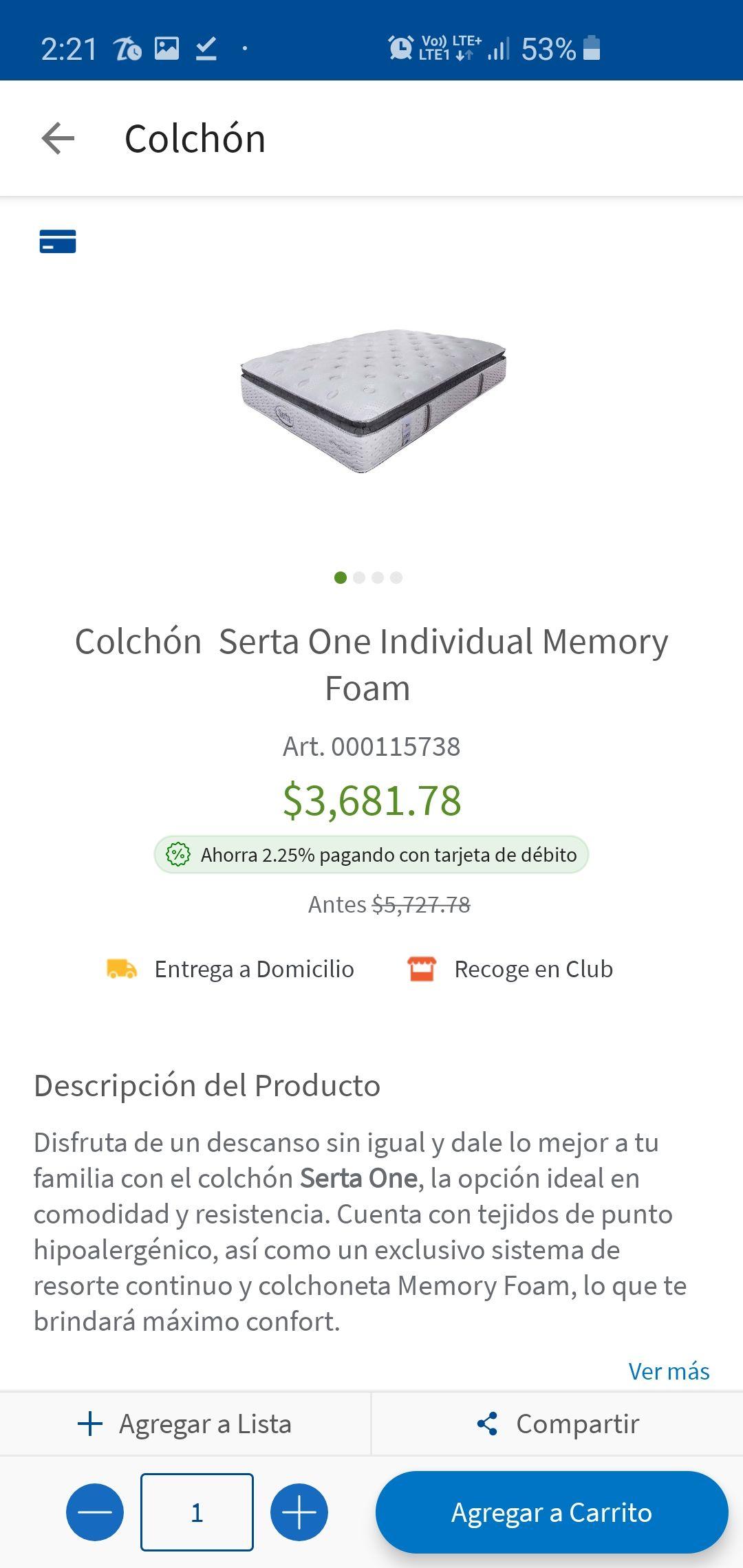 Sam's Club: Colchón serta one individual memory form