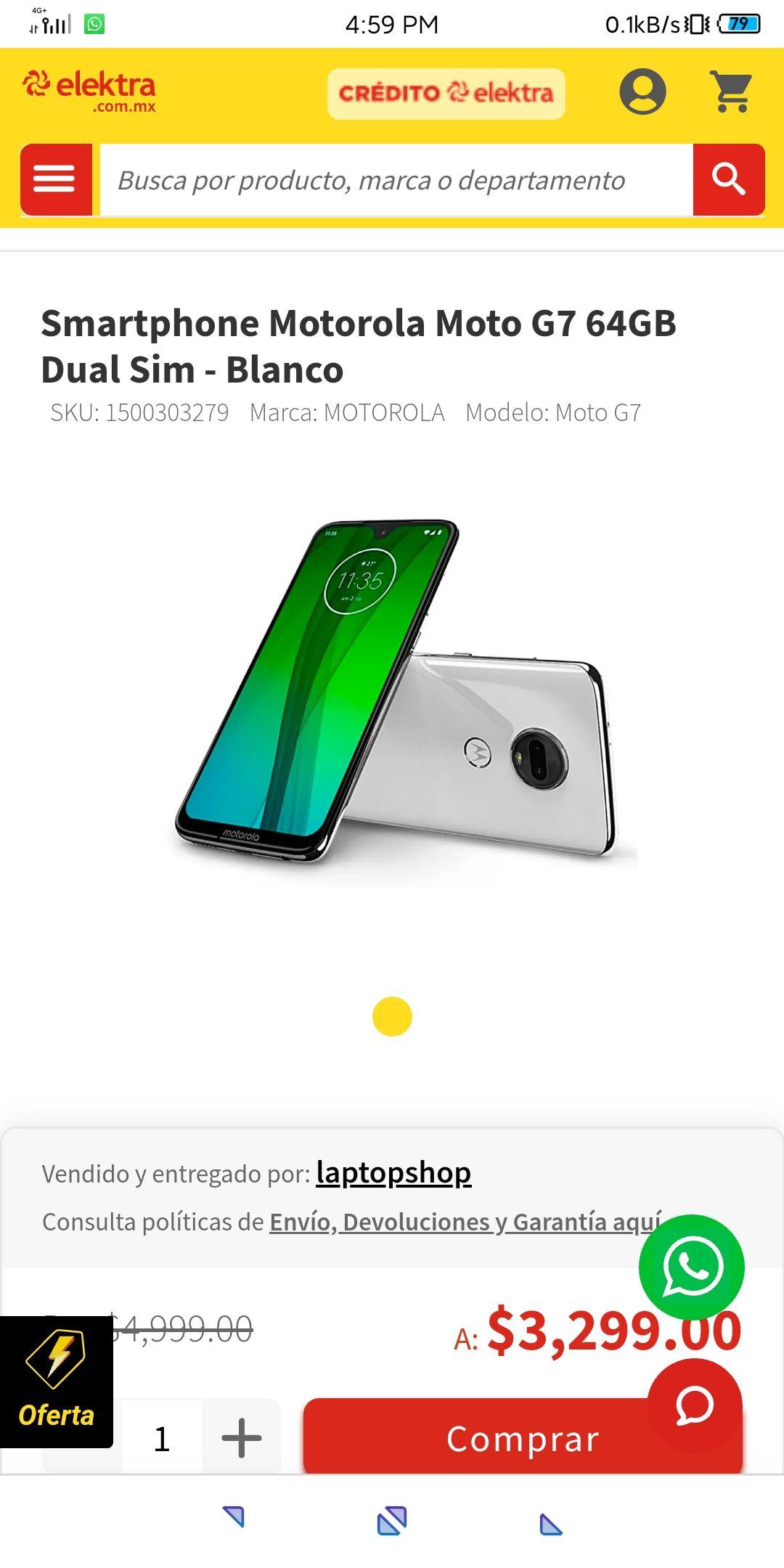Elektra en Linea: Motorola Moto G7, Versión 4/64, Color Blanco o Negro (Pagando con Mercado Pago)