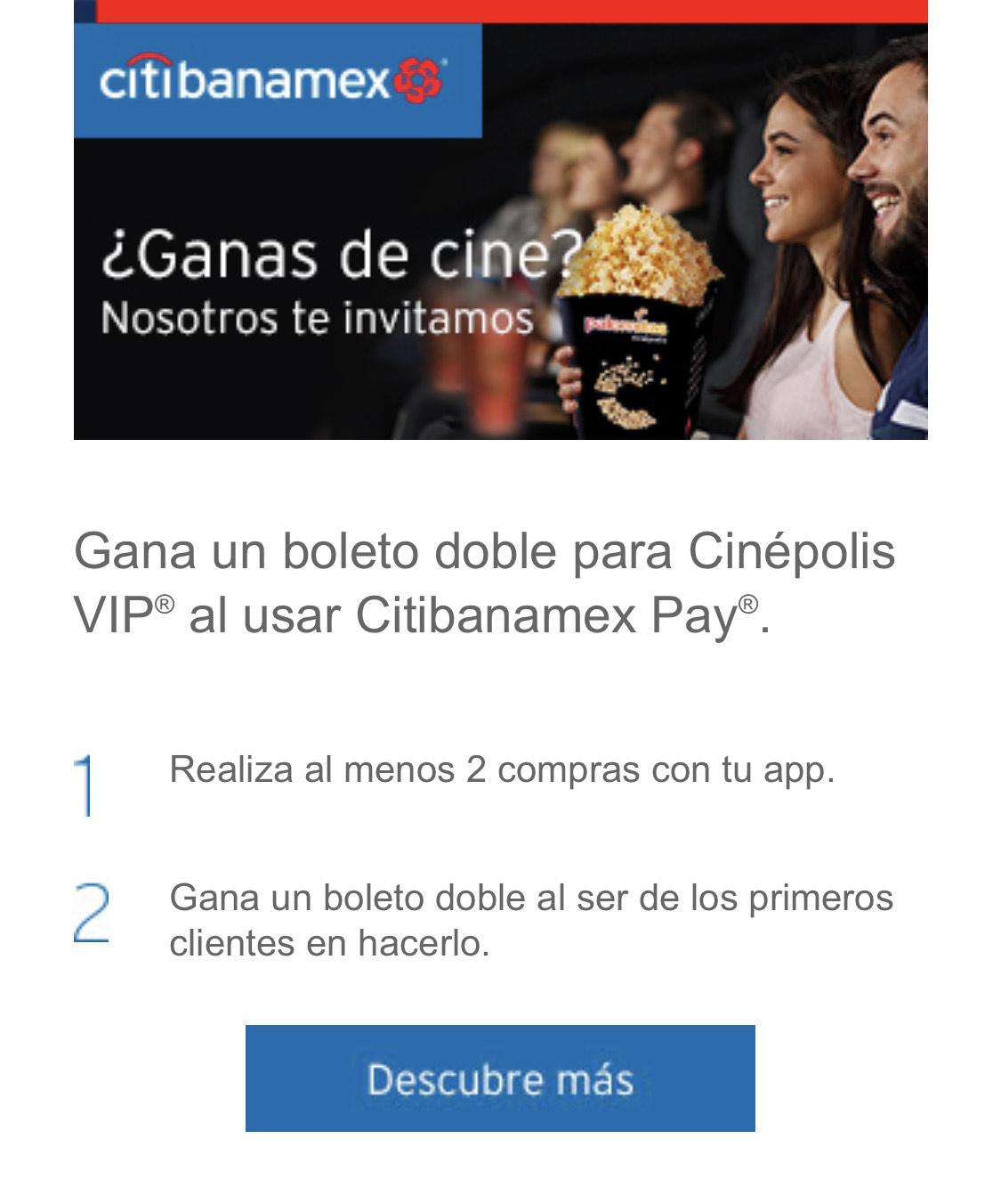 Citibanamex: Gana 2 pases Cinépolis VIP con Citipay