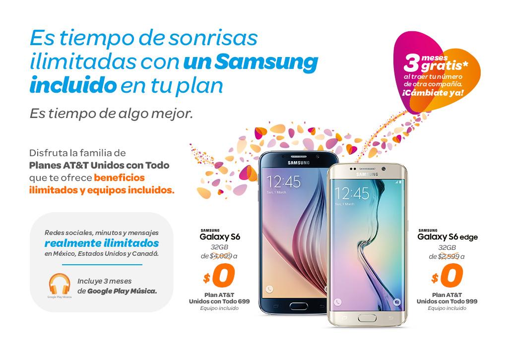 AT&T: Actualizacion costos Samsung S6 Plan 699 y 999