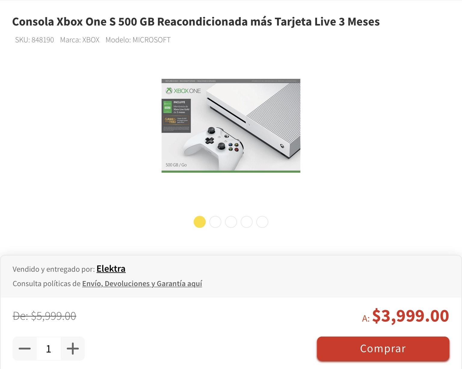 elektra Consola Xbox One S 500 GB Reacondicionada más Tarjeta Live 3 Meses