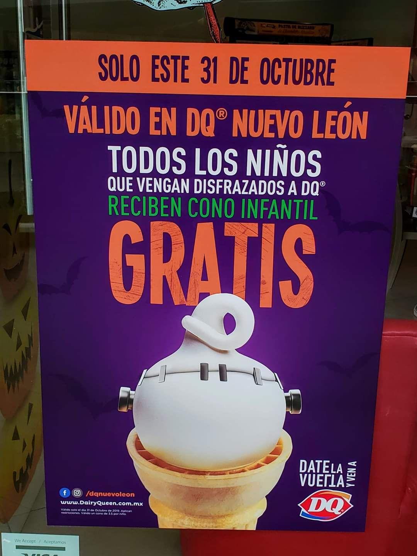 Dairy Queen Nuevo León cono gratis este 31 de octubre a cada niño que lleven disfrazado