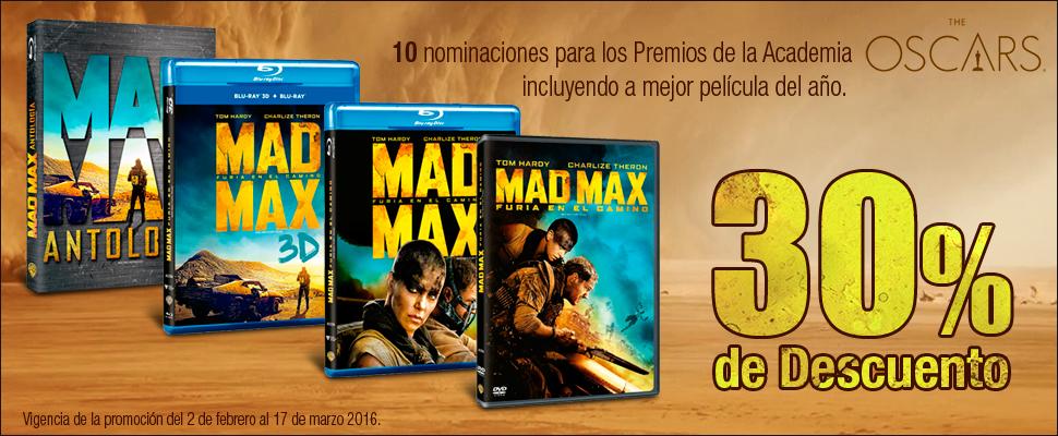 Sears: 30% de descuento en peliculas Mad Max