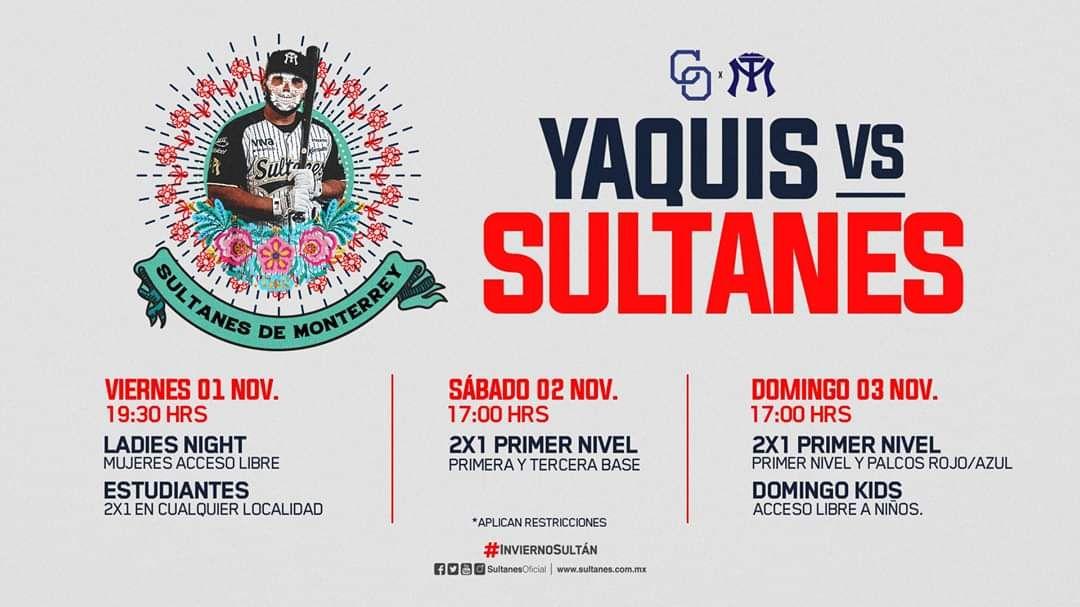 Boletos 2x1 Sultanes vs Yaquis