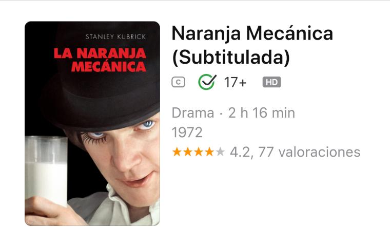 iTunes: La Naranja Mecánica en HD