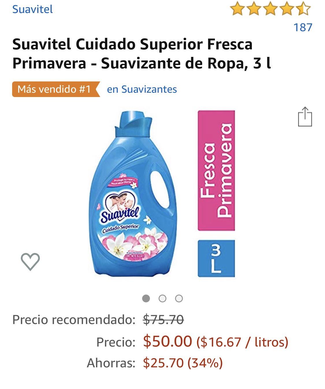 Amazon Suavitel Cuidado Superior Fresca Primavera - Suavizante de Ropa, 3 l