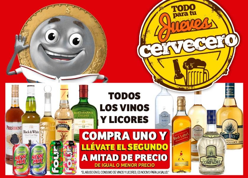 Soriana Mercado y Express: 2 x 1½ en todos los vinos y licores... y más ofertas del Jueves Cervcero