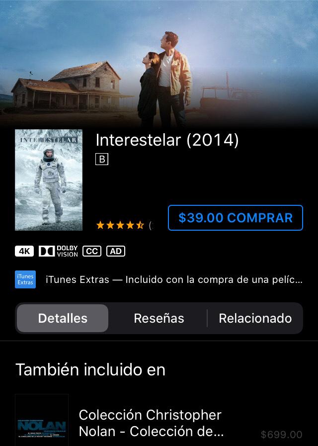 Itunes: varias películas