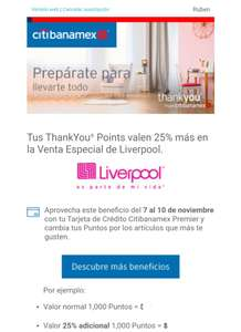 Liverpool: Thank You Points Valen 25% MAS