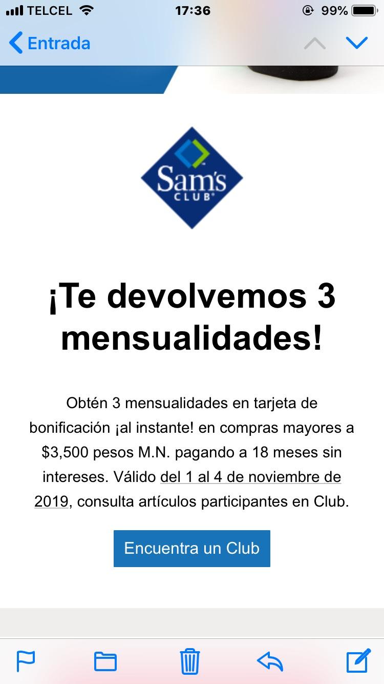 Sam's Club: 3 meses en tarjeta de bonificación pagando a 18MSI con tdc BBVA