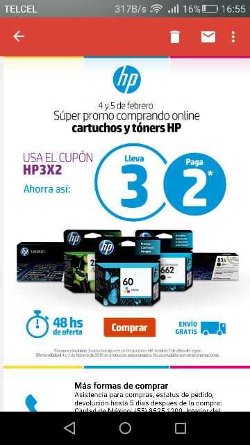 HP Online: 3x2 en Cartuchos y Tóners con cupón HP3X2