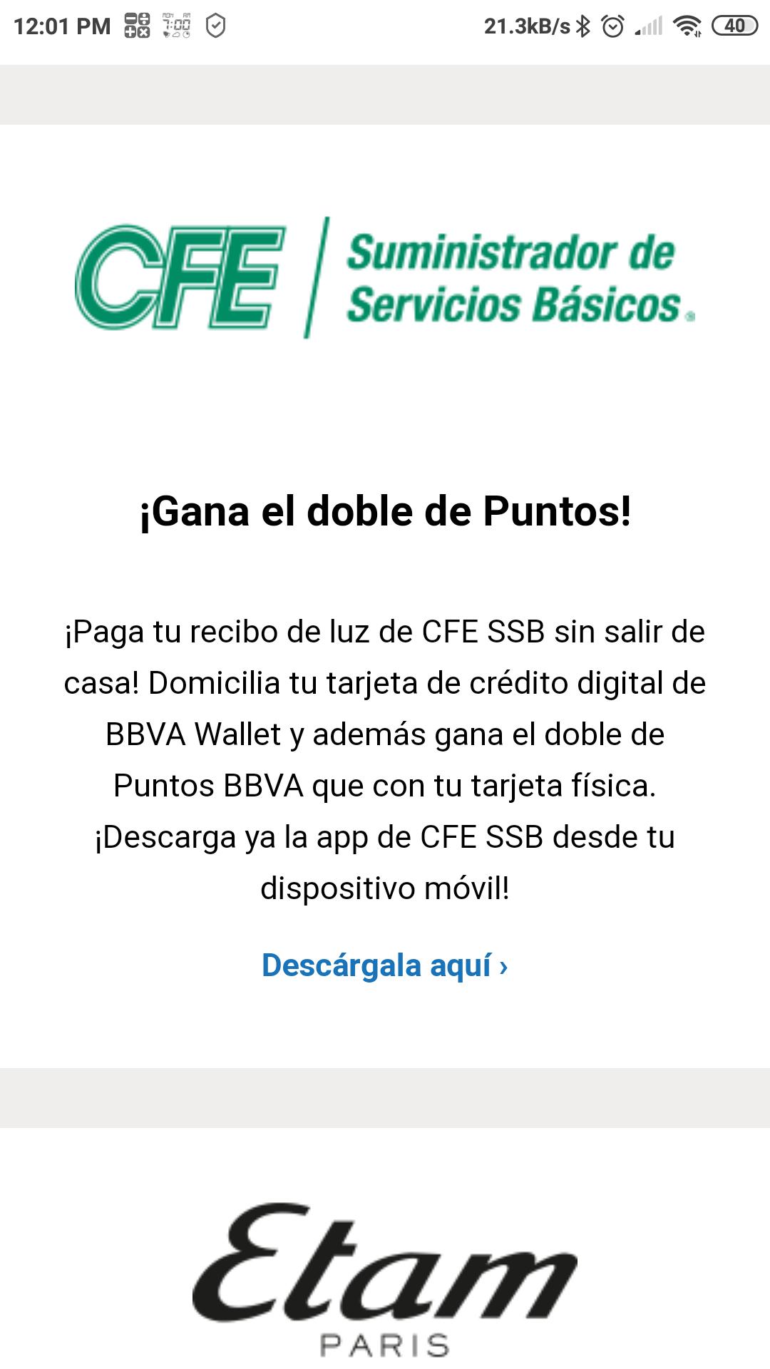 Dobles puntos Bancomer BBVA al pagar CFE