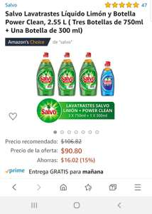 Amazon: Salvo Lavatrastes ( Tres Botellas de 750ml + Una Botella de 300 ml)