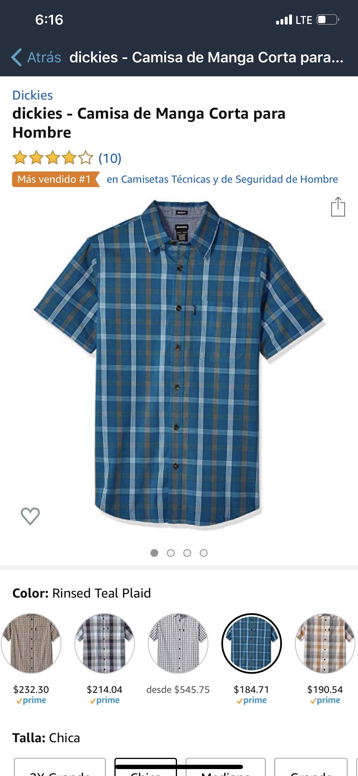 Amazon: Camisa dickies talla Ch