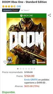 Amazon: DOOM Xbox One - Edición Estándar
