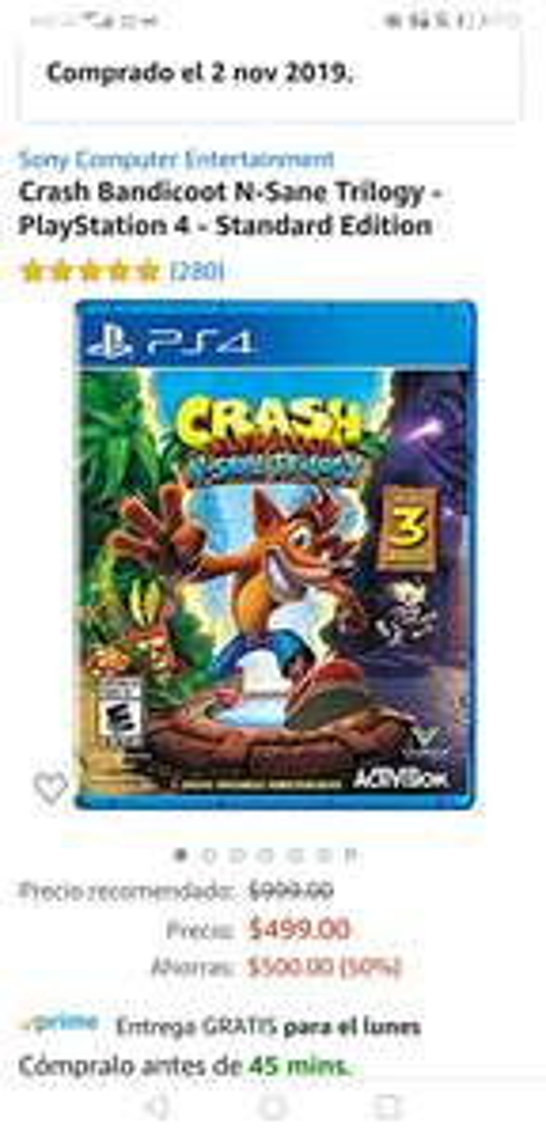 Amazon: Crash Bandicoot N-Sane Trilogy para PS4