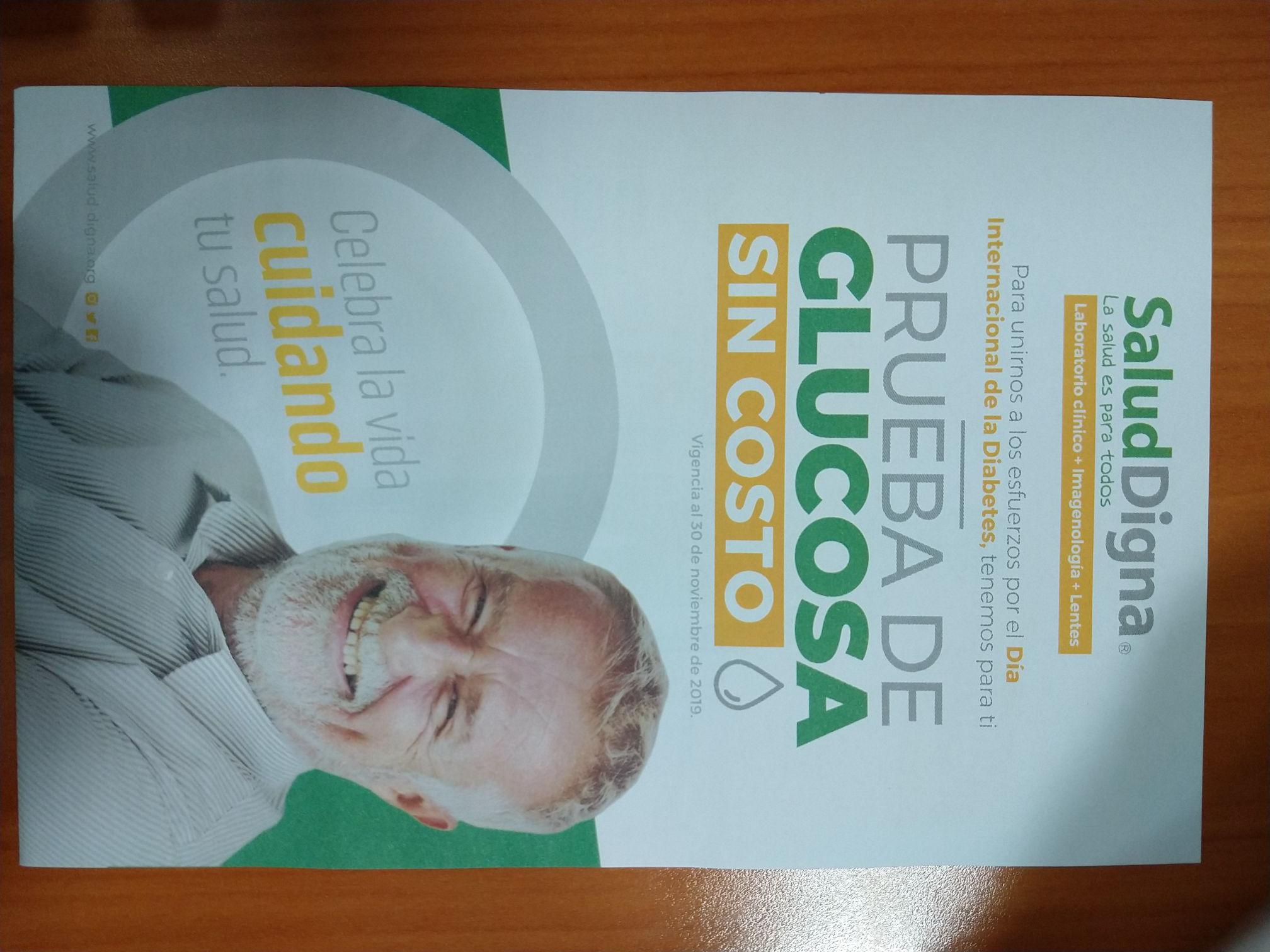 Salud Digna: Toma de Glucosa gratis todo el mes de noviembre