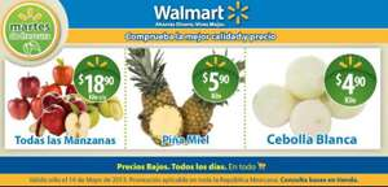 Martes de frescura Walmart mayo 14: piña $5.90 y más