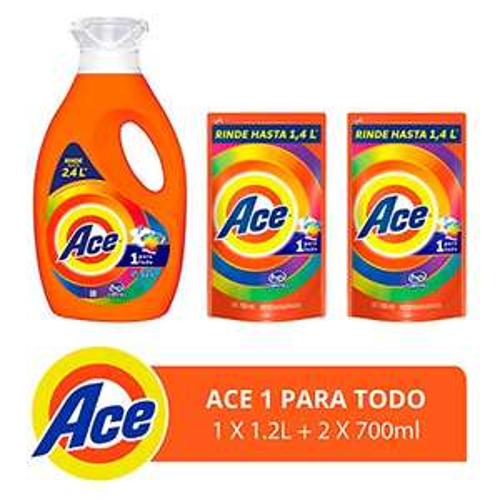 Amazon: Ace Detergente Líquido 1.2lts + 2 Refills De 700ml C/U, 2.6lts en total