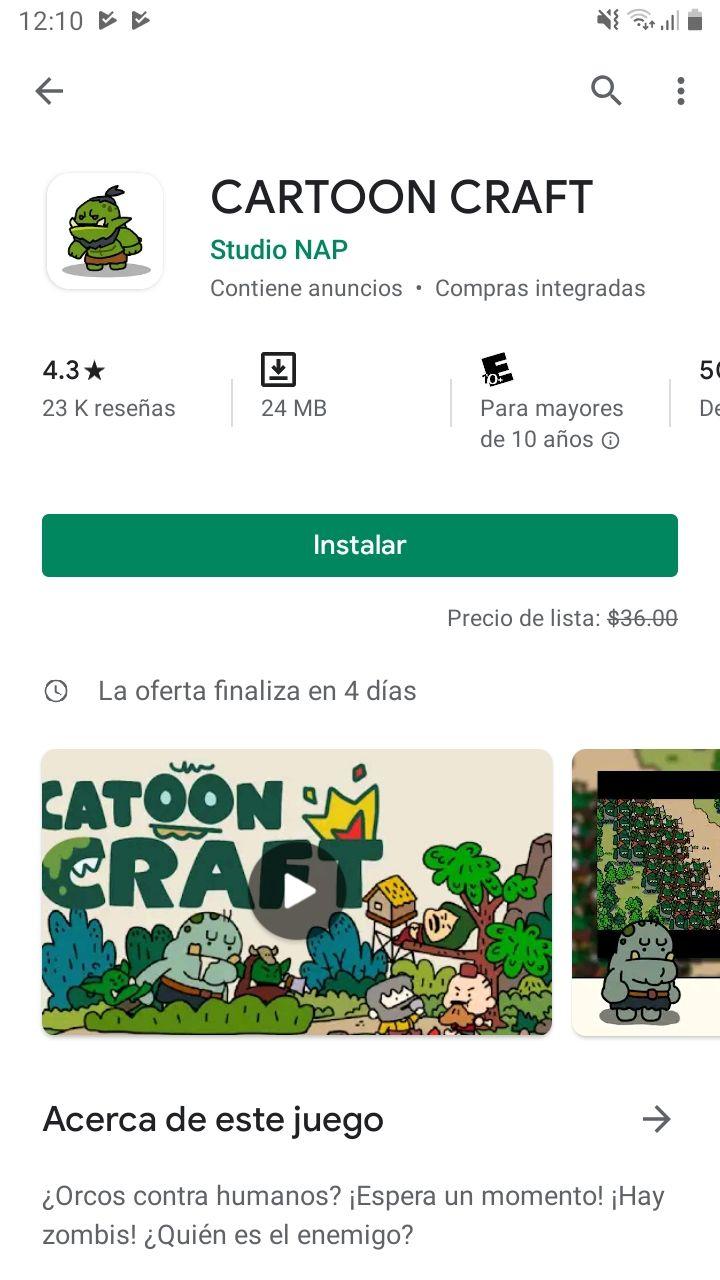 Google Play Store: Cartoon Craft -100%
