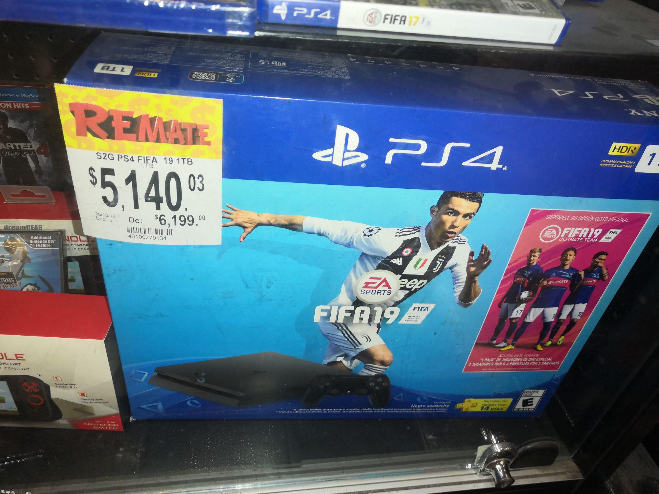 Bodega Aurrera: Consola PS4 1 Tera fifa 19