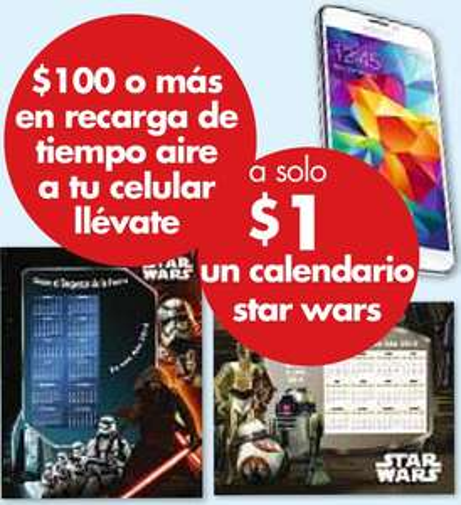Farmacias Benavides: calendario Star Wars $1 recargando $100 de tiempo aire