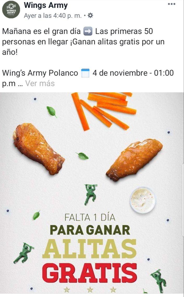 Wing's Army Polanco: Alitas gratis