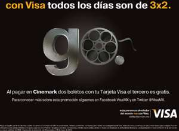 Cinemark: 3x2 todos los días pagando con Visa