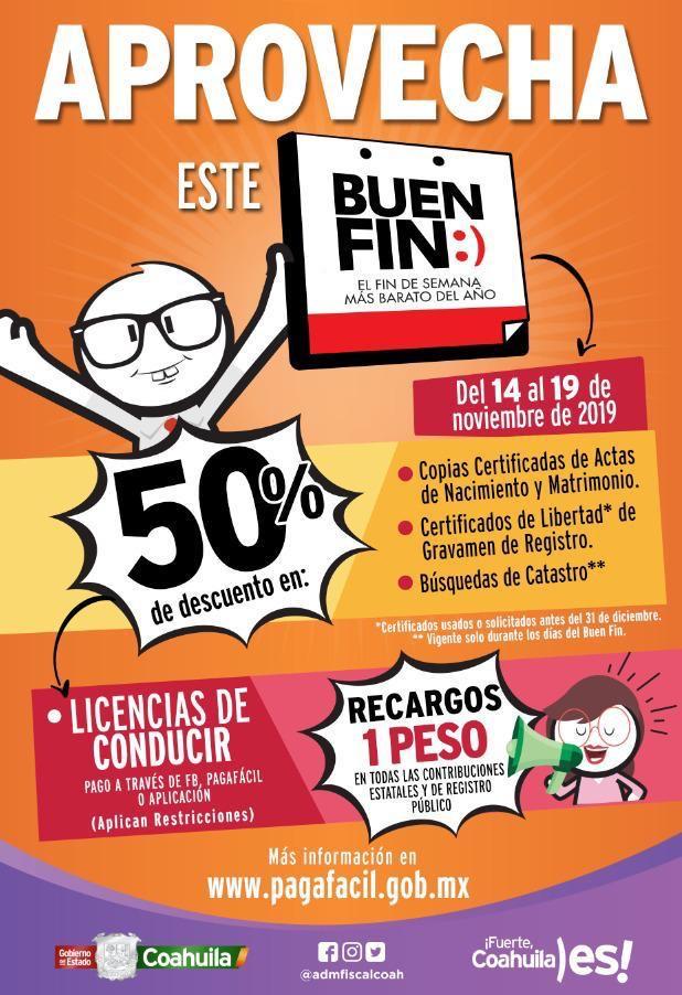 Buen Fin 2019: 50% de descuento en licencias de conducir de Coahuila
