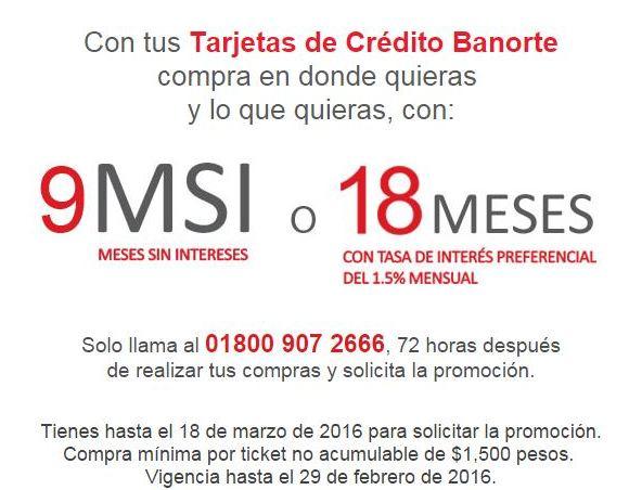 Banorte: Meses sin intereses en todas las compras hasta el 18 de marzo