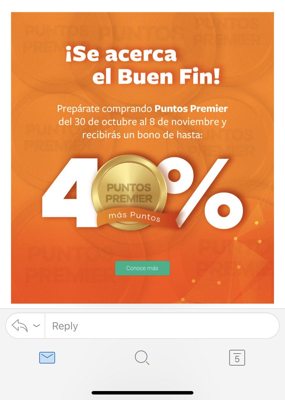 Ofertas Pre Buen Fin 2019 Club Premier: En la compra de puntos hasta el 8 de Nov te regalan 40% de AMEX