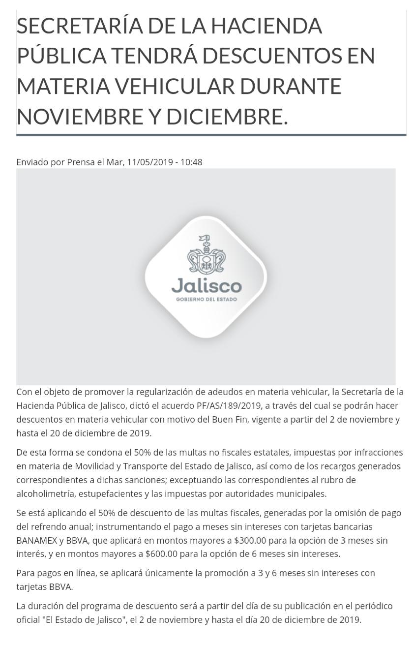 Jalisco: 50% de descuento y MSI en multas y recargos de SEMOV.