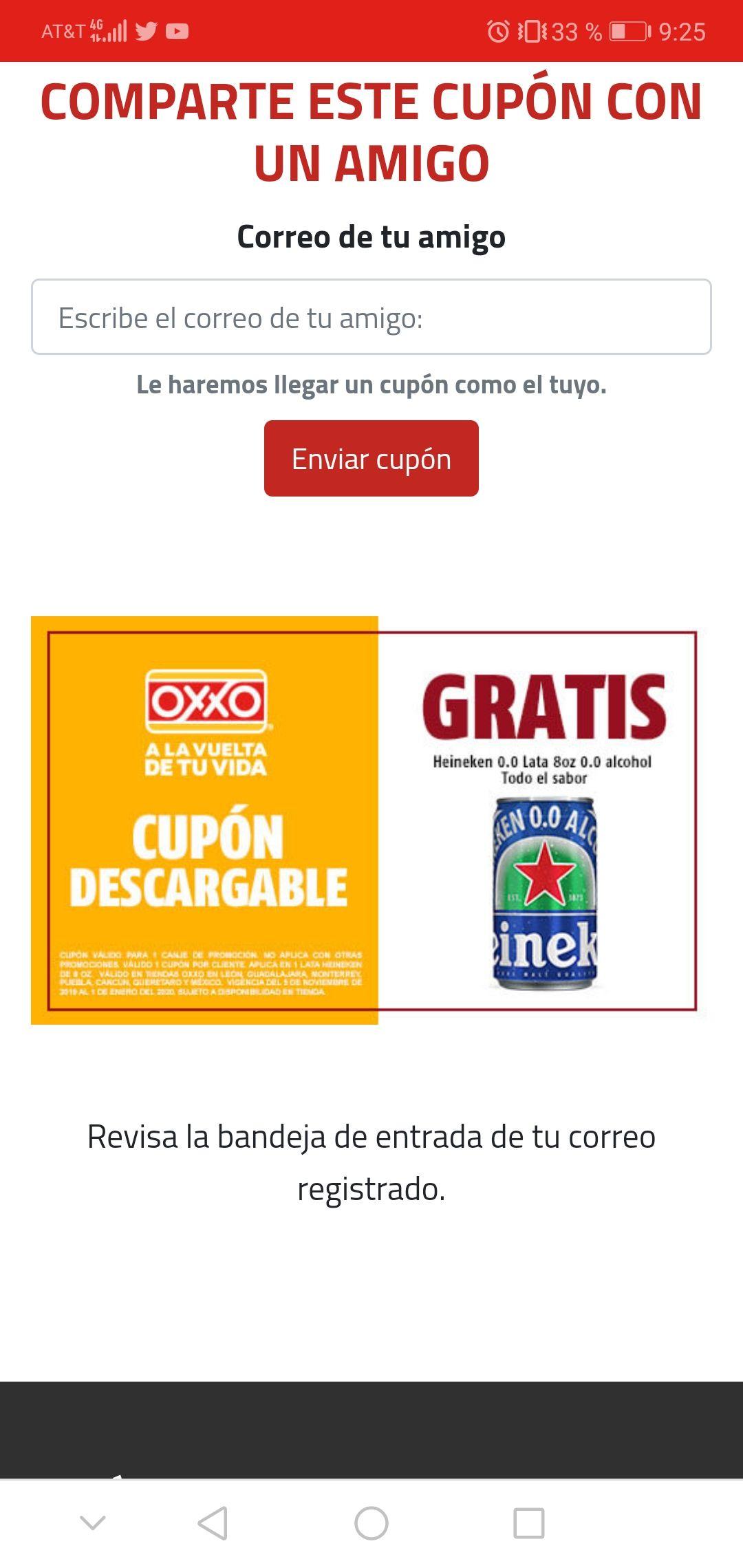 Heineken sin alcohol gratis (cupon Oxxo)